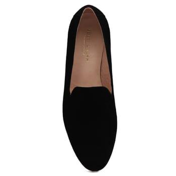vue dessus slippers classiques cuir daim noir jules & jenn