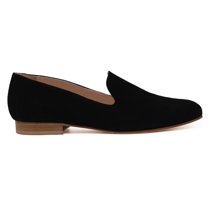 vue exterieur slippers classiques cuir daim noir jules & jenn
