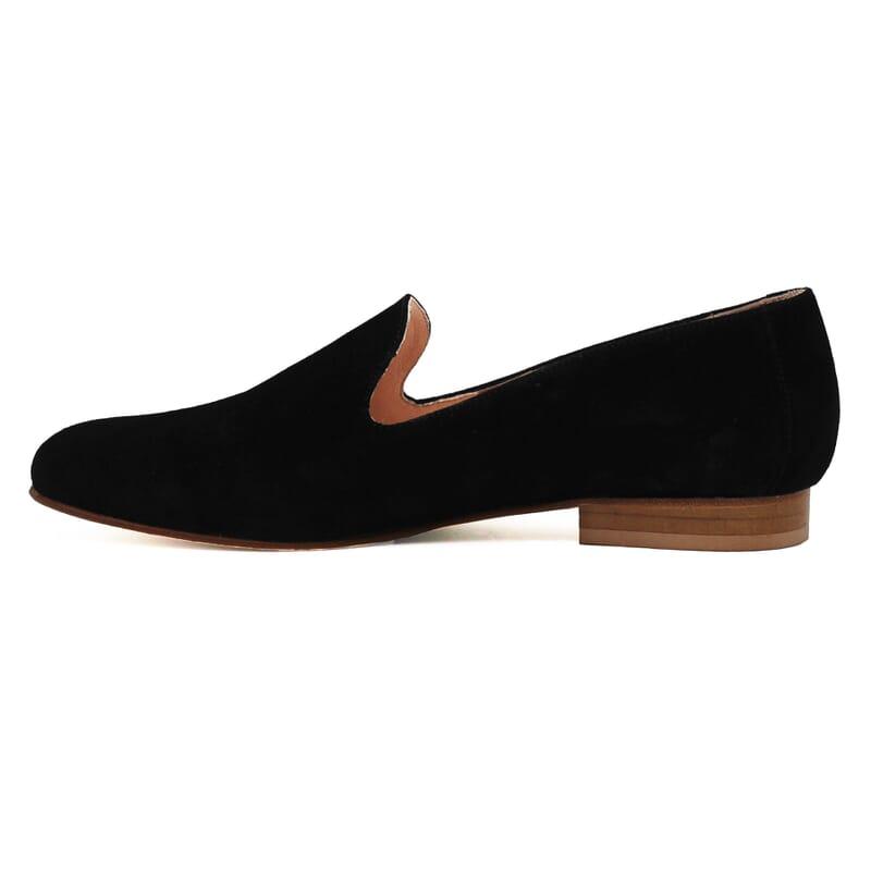 vue interieur slippers classiques cuir daim noir jules & jenn