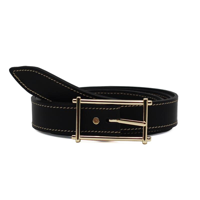 ceinture mademoiselle cuir noir fabriquee en france
