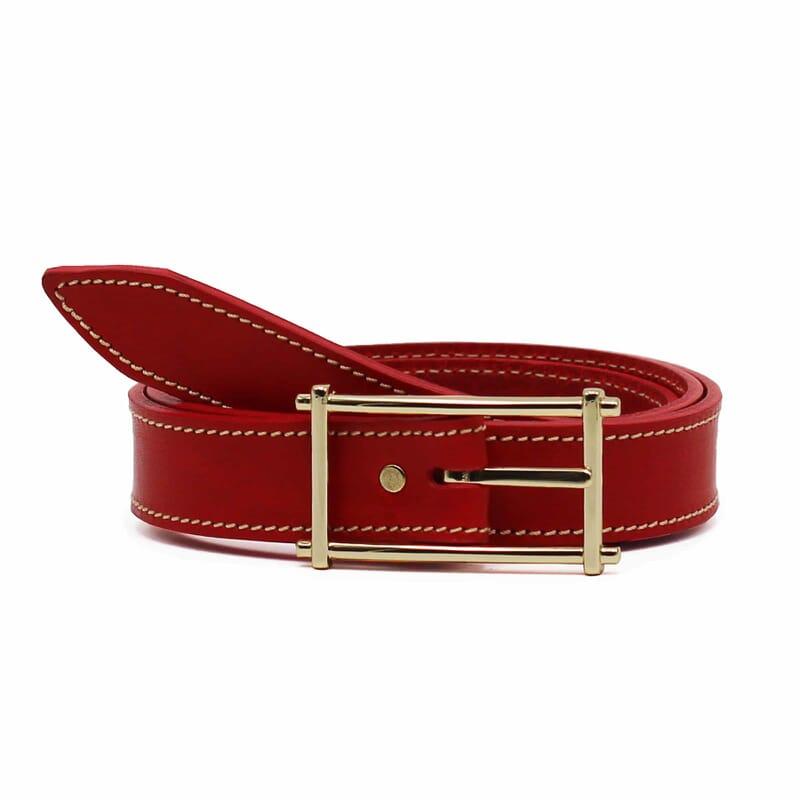 ceinture rouge cuir mademoiselle