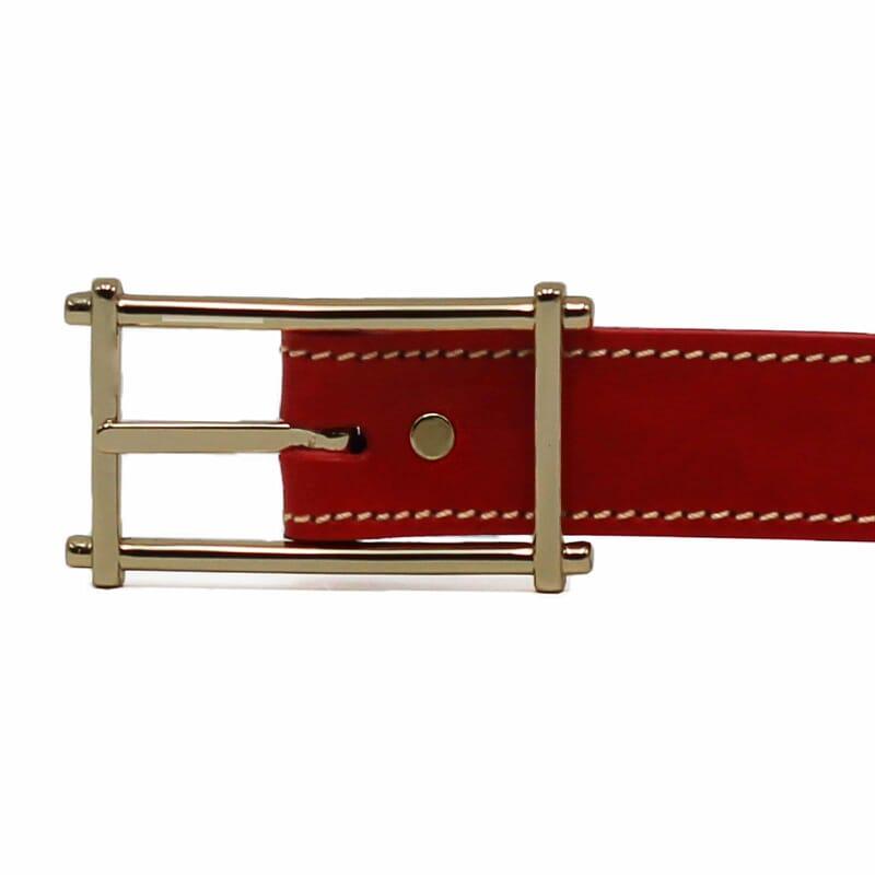 boucle ceinture rouge cuir mademoiselle
