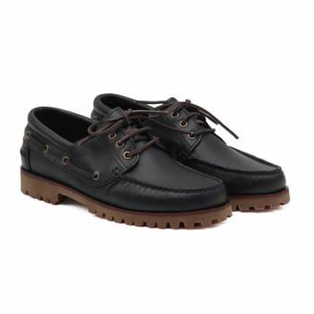 chaussure bateau crampons cuir noir jules & jenn