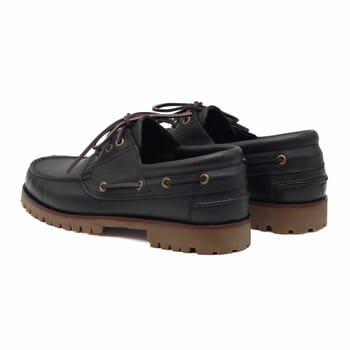 vue arriere chaussure bateau crampons cuir noir jules & jenn