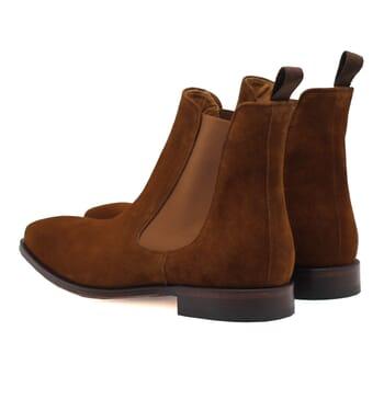 vue arriere chelsea boots cuir daim cognac jules & jenn