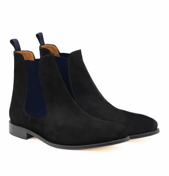 chelsea boots cuir daim noir et bleu jules & jenn