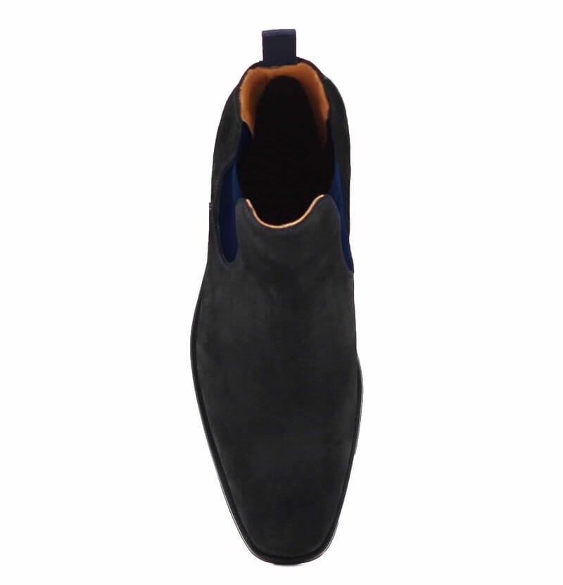 vue dessus chelsea boots cuir daim noir et bleu jules & jenn