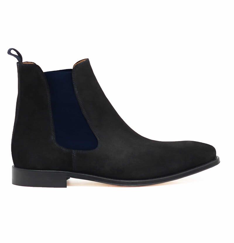 vue exterieur chelsea boots cuir daim noir et bleu jules & jenn