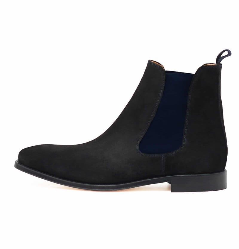 vue interieur chelsea boots cuir daim noir et bleu jules & jenn