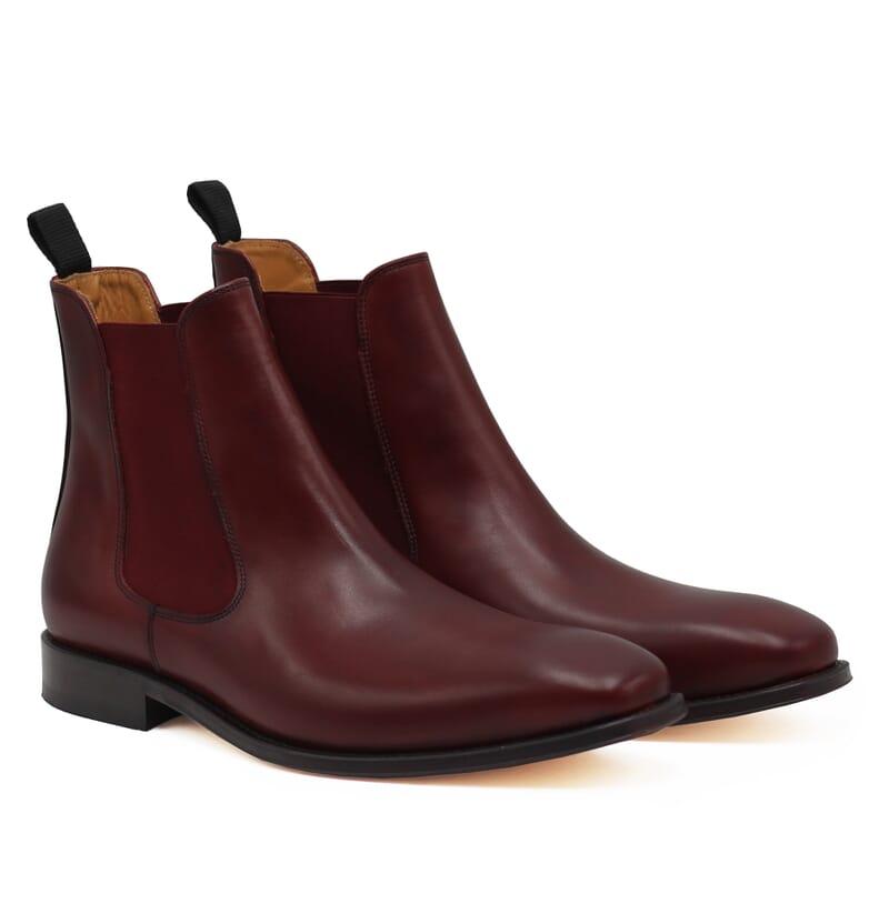 chelsea boots cuir lisse tannage vegetal bordeaux jules & jenn