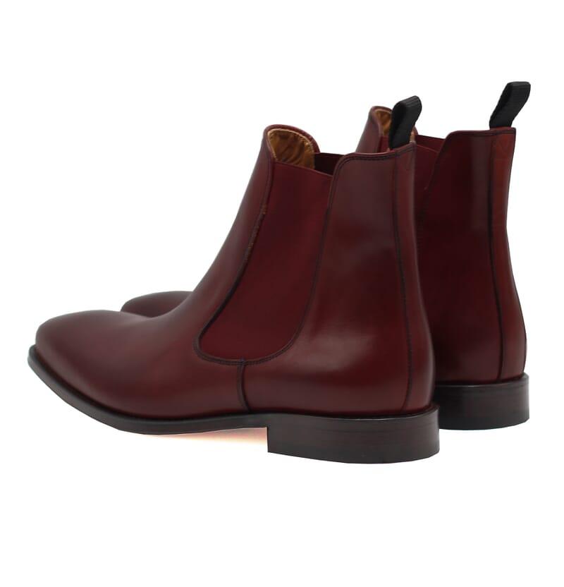 vue arriere chelsea boots cuir lisse tannage vegetal bordeaux jules & jenn