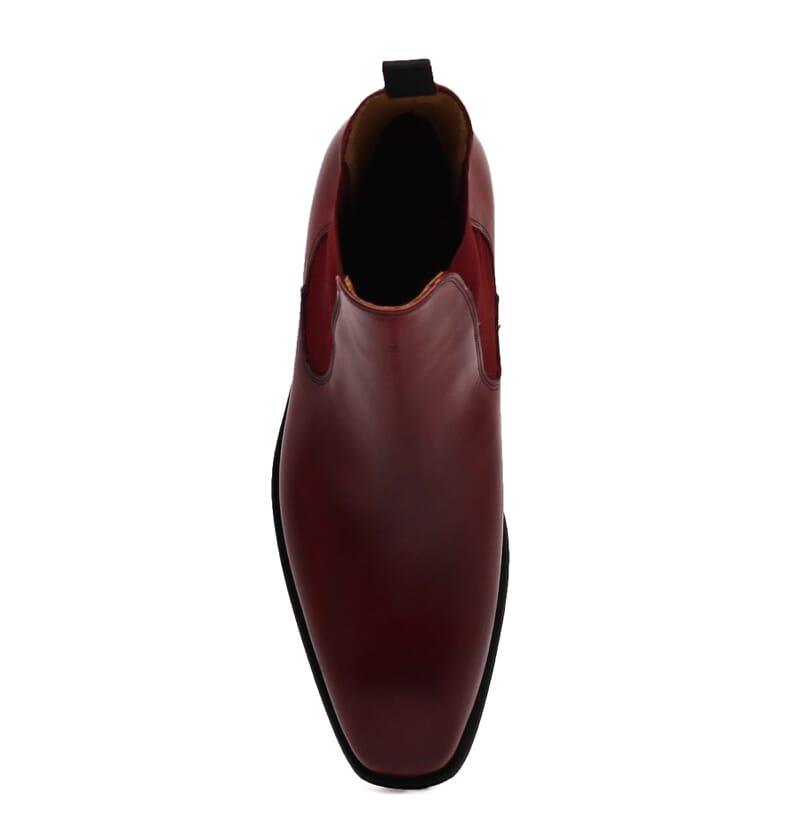 vue dessus chelsea boots cuir lisse tannage vegetal bordeaux jules & jenn