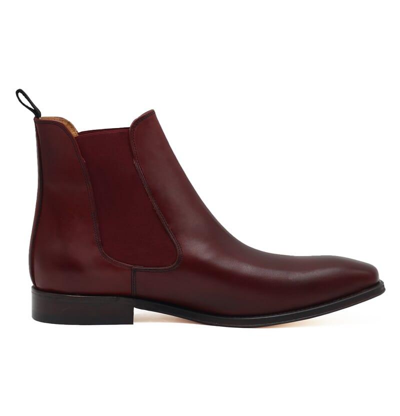 vue exterieure chelsea boots cuir lisse tannage vegetal bordeaux jules & jenn