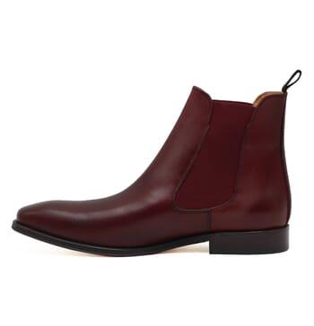 vue interieure chelsea boots cuir lisse tannage vegetal bordeaux jules & jenn