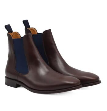 chelsea boots cuir lisse tannage vegetal marron et bleu jules & jenn