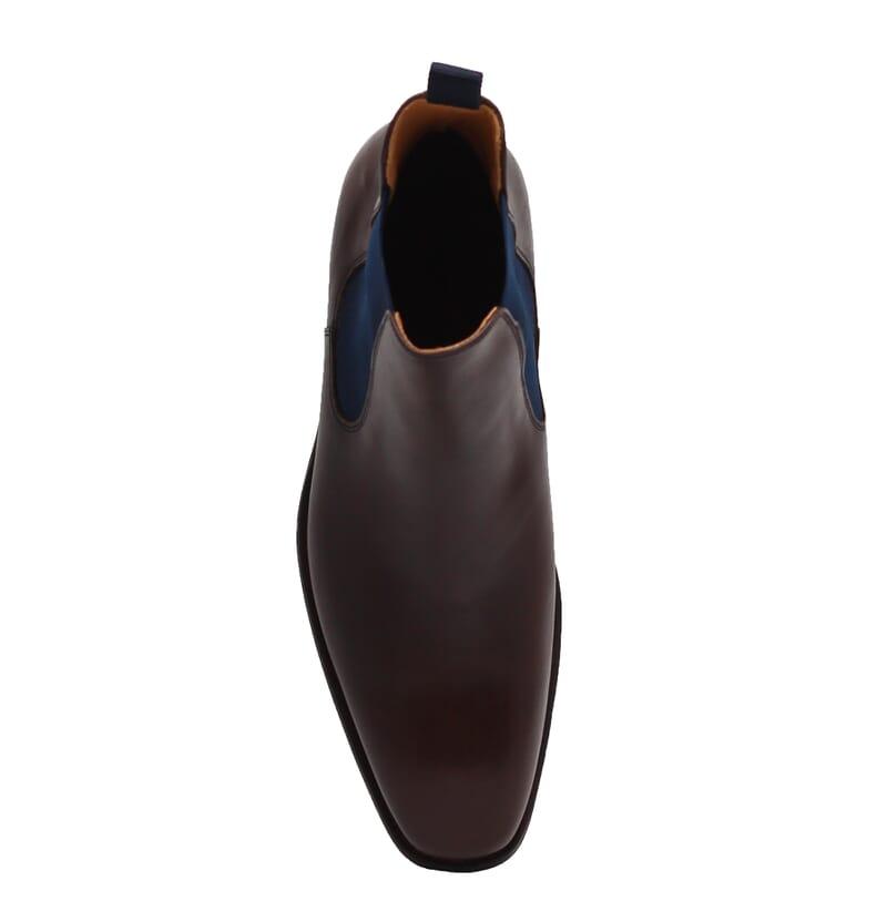 vue dessus chelsea boots cuir lisse tannage vegetal marron et bleu jules & jenn
