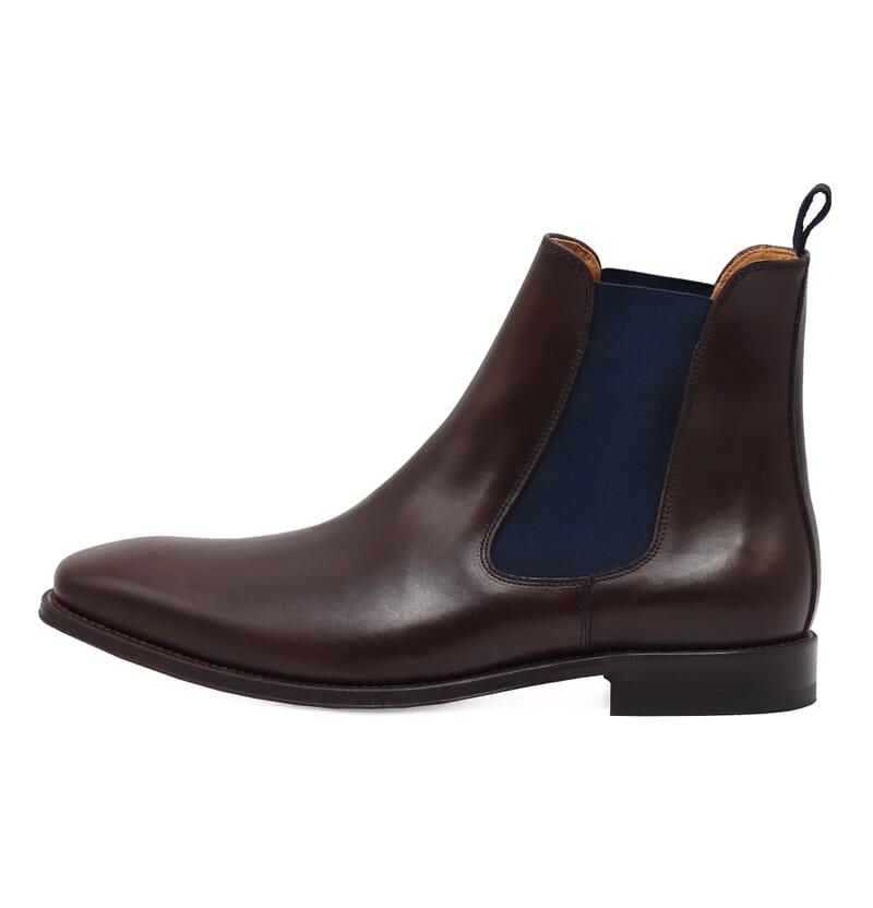 vue interieure chelsea boots cuir lisse tannage vegetal marron et bleu jules & jenn