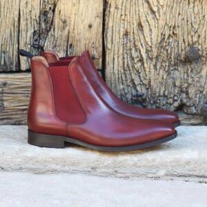 vue exterieure chelsea boots homme cuir lisse bordeaux tannage vegetal