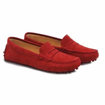 mocassins femme cuir daim rouge jules & jenn