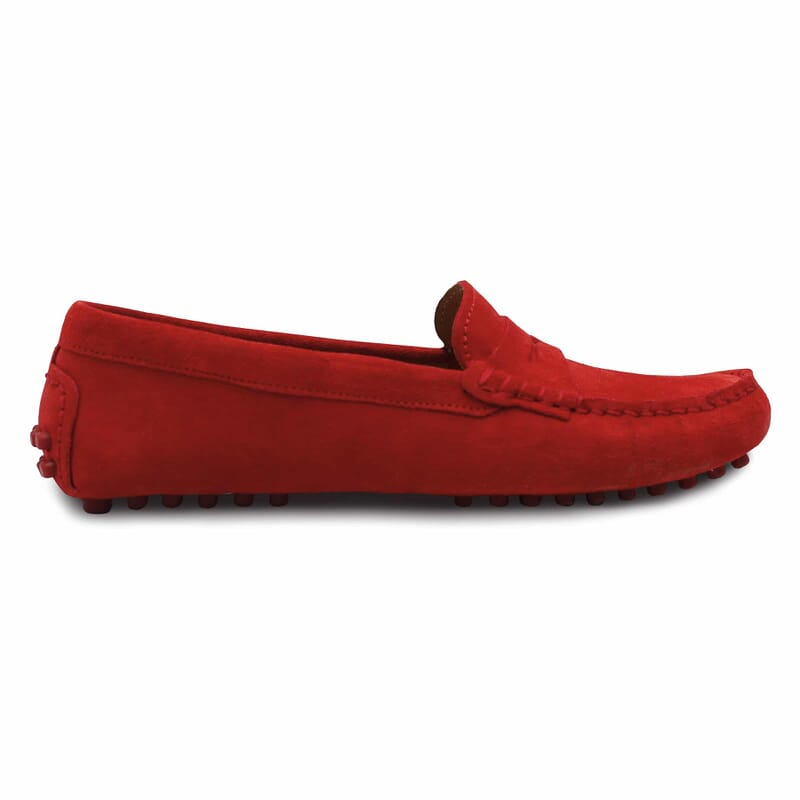 vue exterieure mocassins femme cuir daim rouge jules & jenn