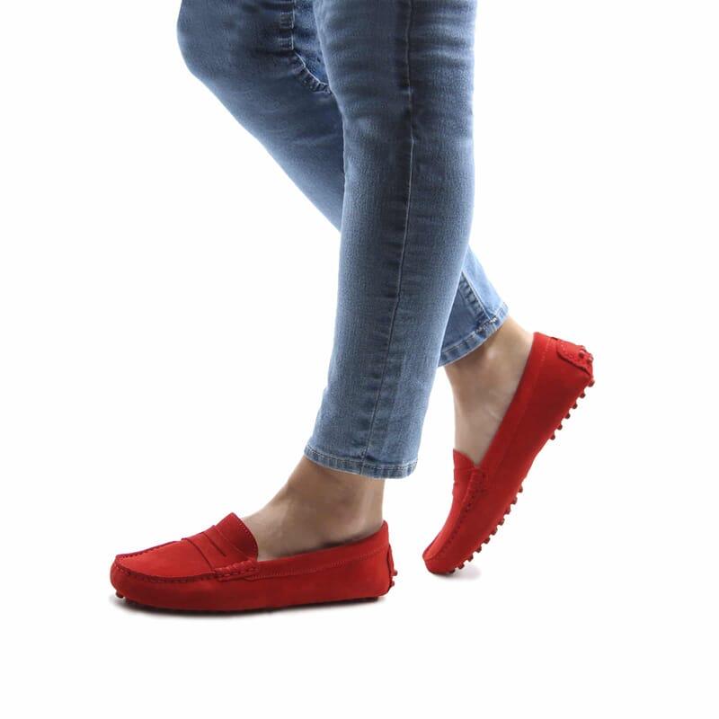 vue portee mocassins femme cuir daim rouge jules & jenn