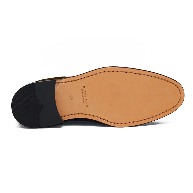 semelle desert boots cuir daim vert kaki Jules & Jenn