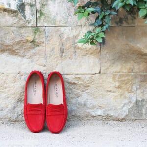vue posee mocassins femme cuir daim rouge jules & jenn