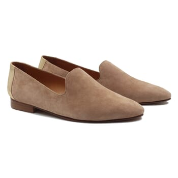 slippers classiques cuir velours beige dore jules & jenn