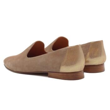 vue arriere slippers classiques cuir velours beige dore jules & jenn