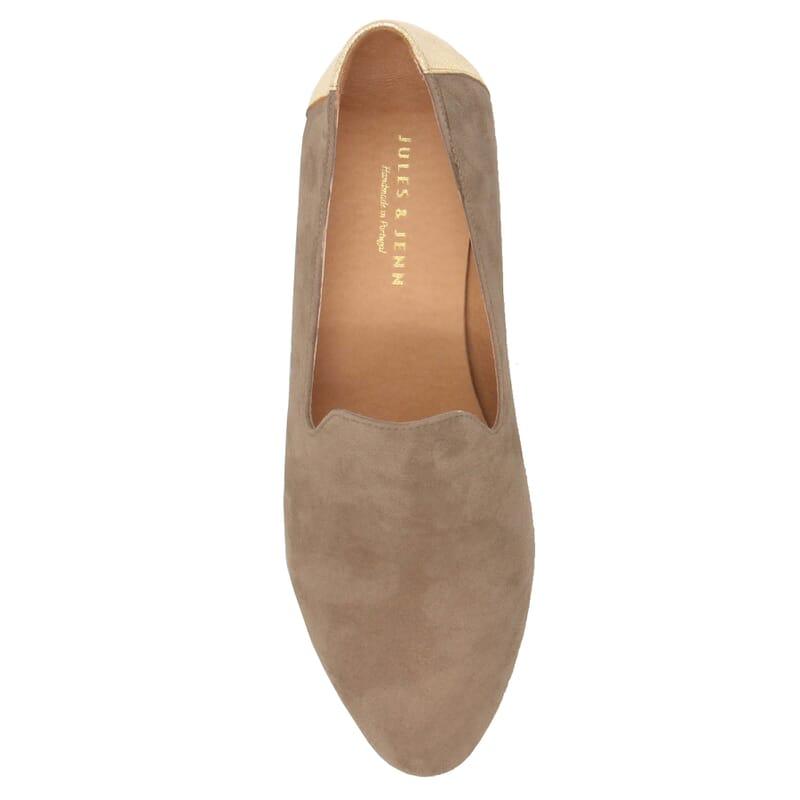 vue dessus slippers classiques cuir velours beige dore jules & jenn