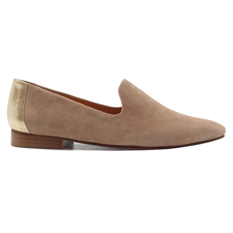 vue exterieur slippers classiques cuir velours beige dore jules & jenn