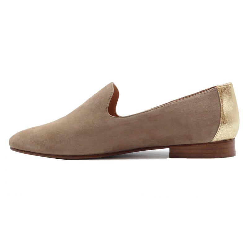 vue interieur slippers classiques cuir velours beige dore jules & jenn