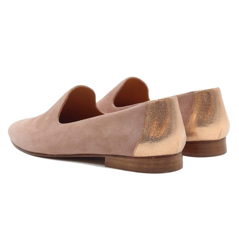 vue arriere slippers classiques cuir velours rose jules & jenn