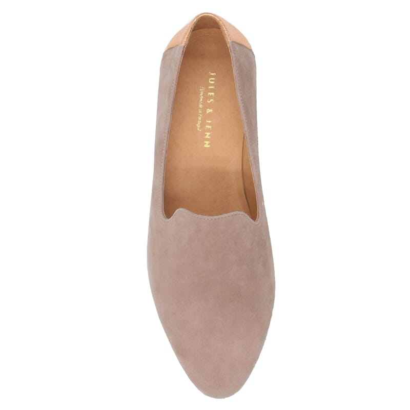vue dessus slippers classiques cuir velours rose jules & jenn