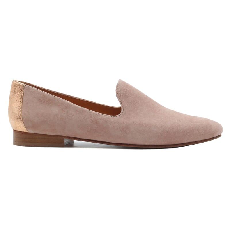 vue exterieur slippers classiques cuir velours rose jules & jenn