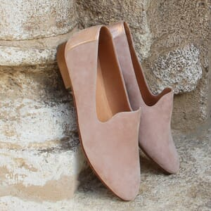 vue posee slippers classiques cuir velours rose jules & jenn