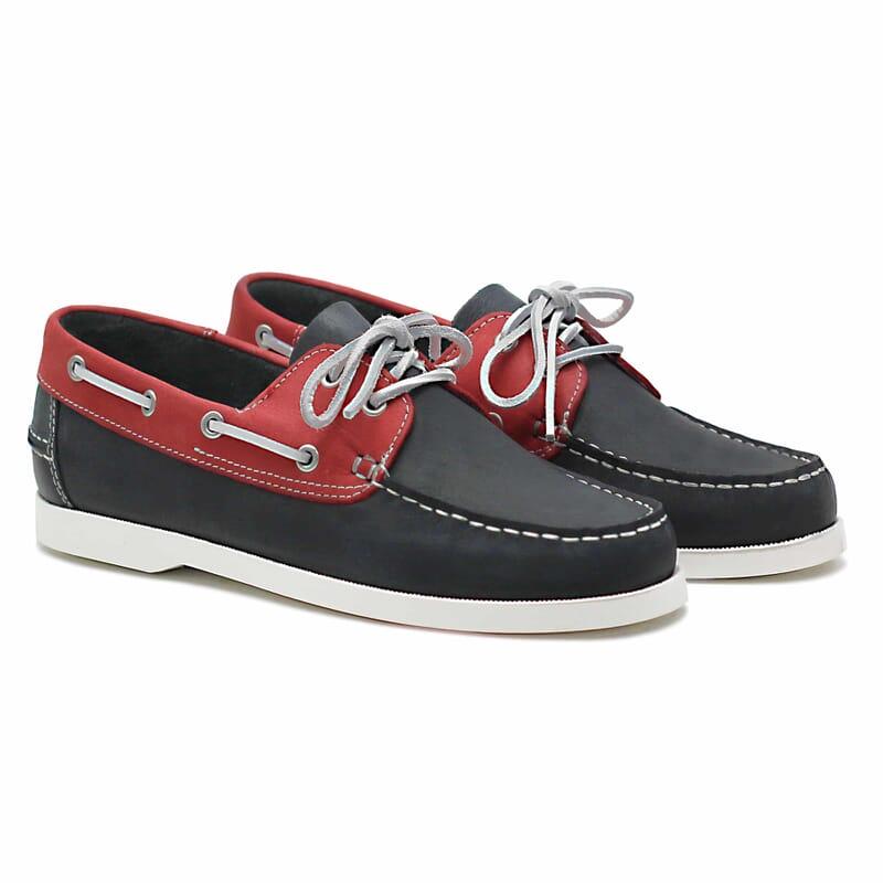 chaussures bateau cuir bleu et rouge jules & jenn