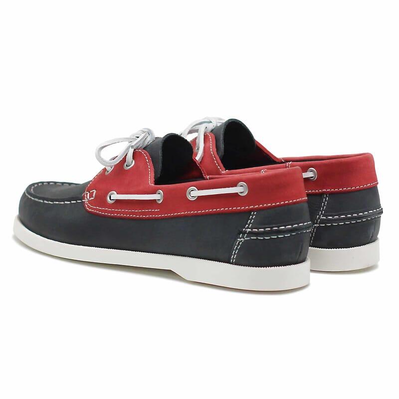 vue arrière chaussures bateau cuir bleu et rouge jules & jenn