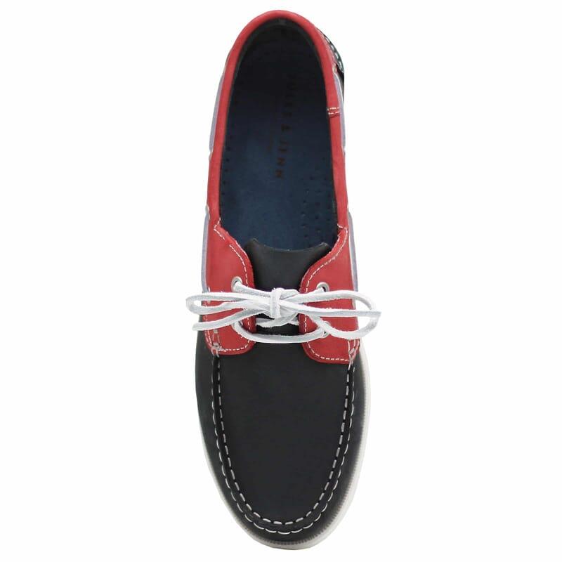 vue dessus chaussures bateau cuir bleu et rouge jules & jenn