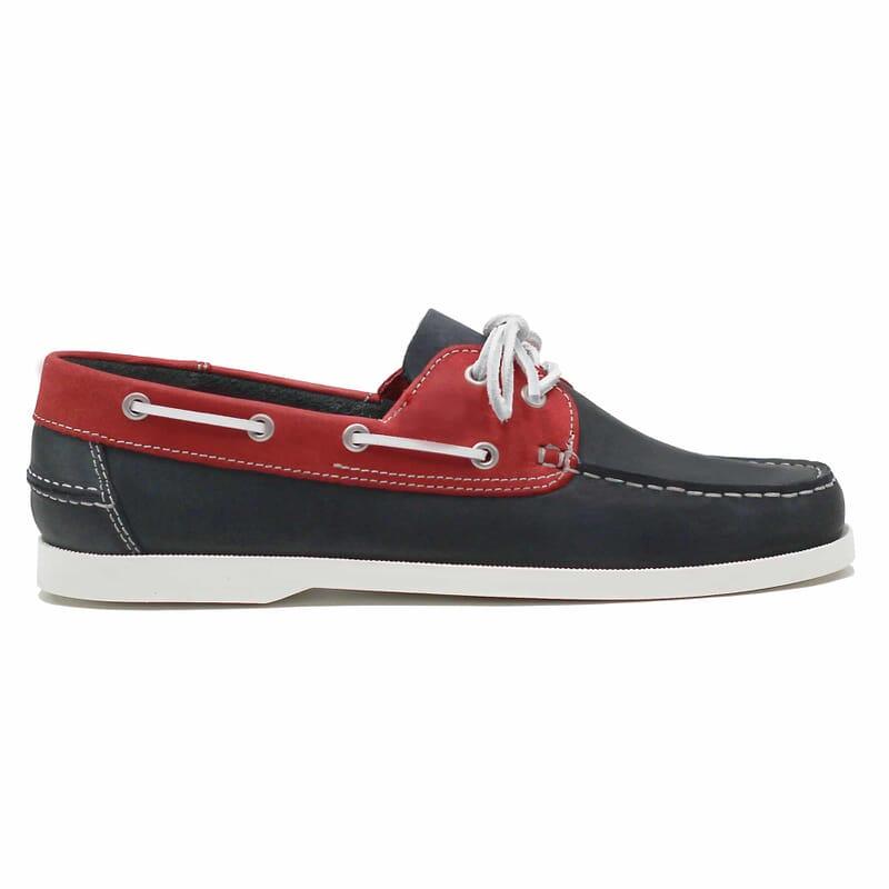 vue extérieure chaussures bateau cuir bleu et rouge jules & jenn