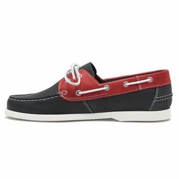 vue intérieure chaussures bateau cuir bleu et rouge jules & jenn