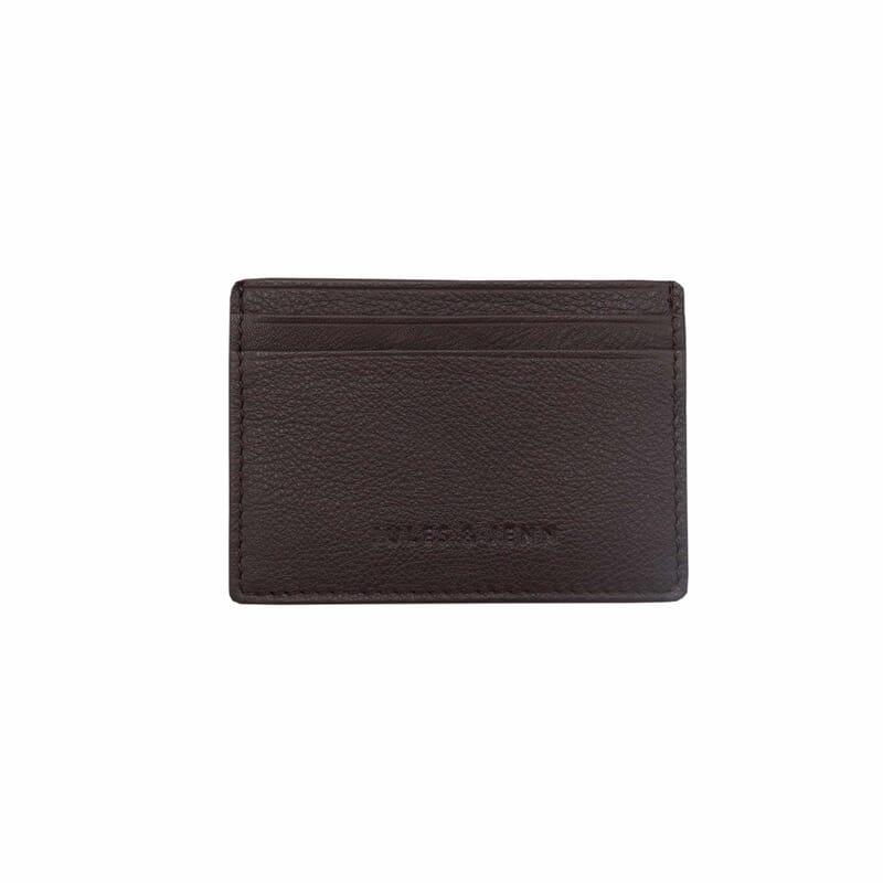 porte-cartes en cuir marron jules & jenn