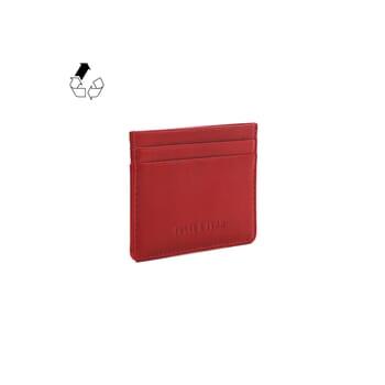 vue côté porte-cartes cuir upcyclé rouge JULES & JENN