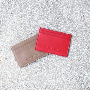 vue multiproduits Porte-carte cuir upcyclé rouge jules & jenn