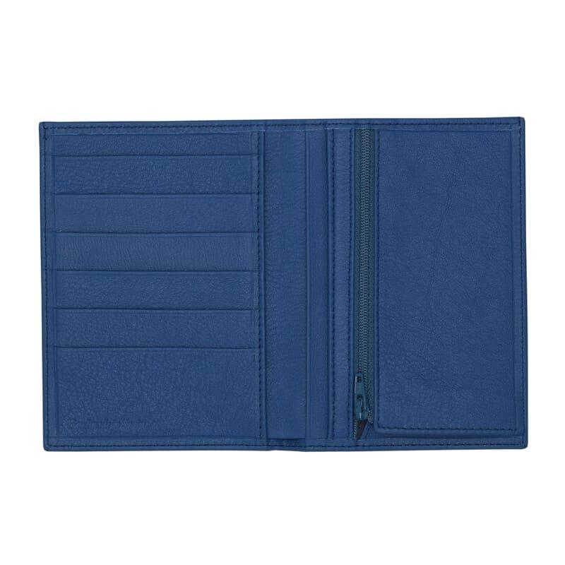vue ouvert portefeuille classique cuir bleu jules & jenn