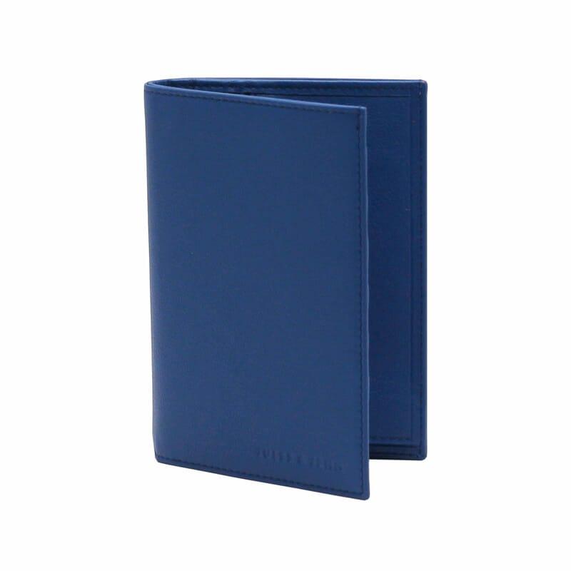 vue debout du portefeuille classique bleu cuir italien