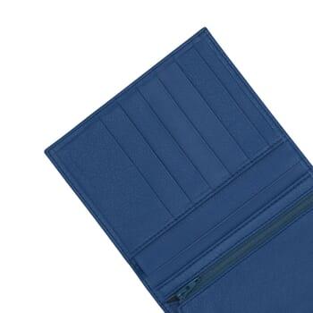 gros plan portefeuille classique cuir bleu jules & jenn
