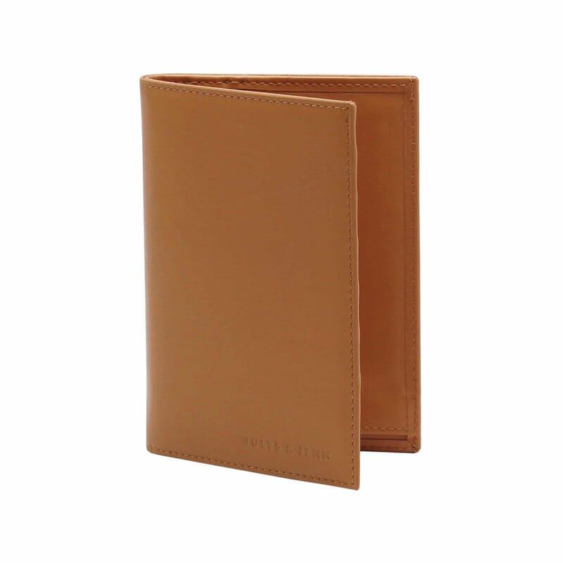 vue debout ouvert portefeuille classique cuir camel