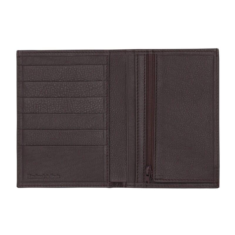 vue ouvert portefeuille classique cuir marron jules & jenn