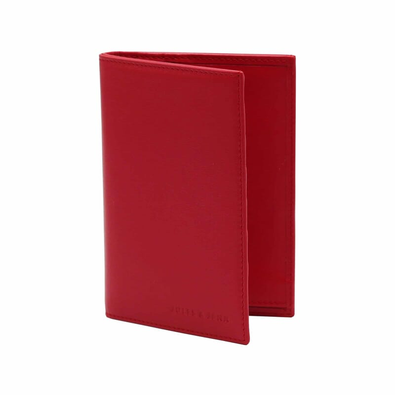 vue debout ouvert portefeuille classique cuir rouge
